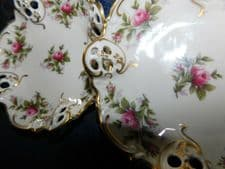 PAIR OF ROSENTHAL KRONACH GERMANY GILDED PIERCED RIM SMALL DISHES PINK ROSES